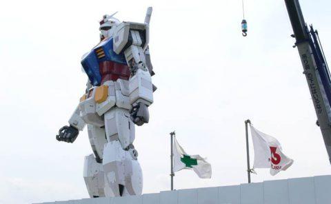 2009年6月、潮風公園に建造中だった頃の実物大ガンダム立像