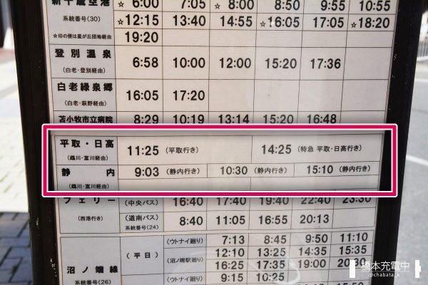 JR苫小牧駅 道南バス 時刻表