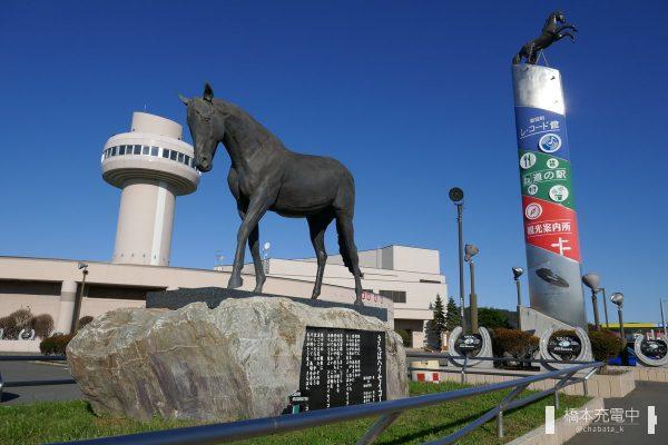 新冠町 レ・コード館とハイセイコー像