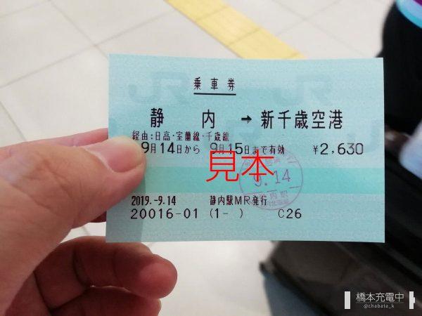 静内駅発行の乗車券